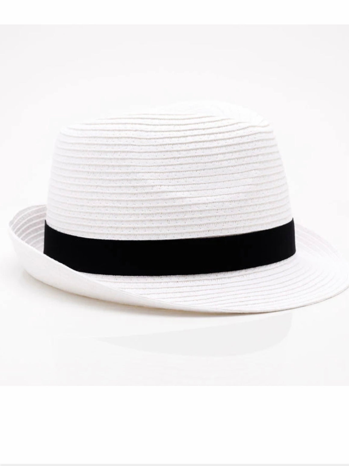Home-Lee Fedora Hat-White with Black Trim - Trio Boutique Geraldine