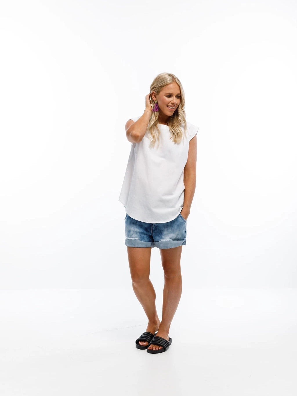 Home-Lee Linen Daisy Tee-White