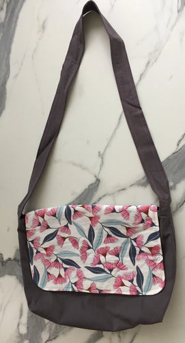 Pink Flowering Gum Handmade Messenger Bag