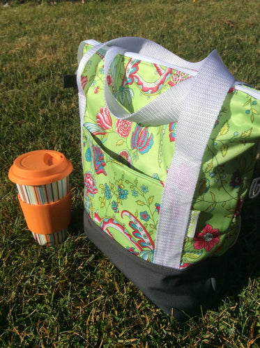 Handmade Green Floral Insulated Cooler Bag