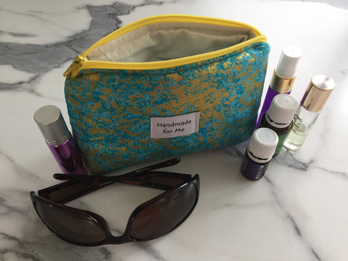 Handmade Blue & Gold Essential Oil Bag