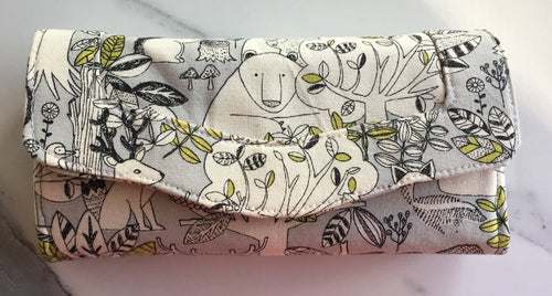 Forest Print Handmade Purse in Green and Grey