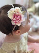 Load image into Gallery viewer, Butterfly Blossom Elastic Headband -Cream/Pink