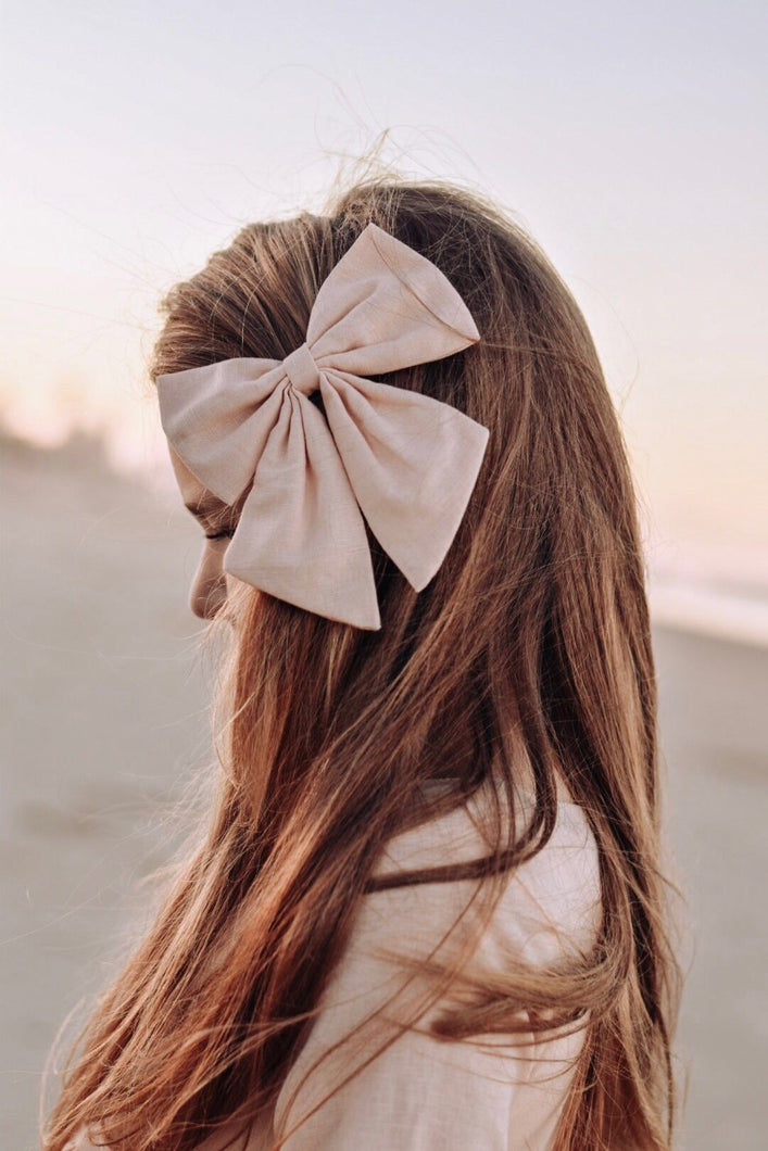 Linen Sailor Bow -Blush