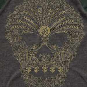 Brand: MOKO Tee Shirt 2XL / CHARCOAL/FOREST MOKO SKULL 3/4 SLEEVE (SIZE 2XL ONLY)