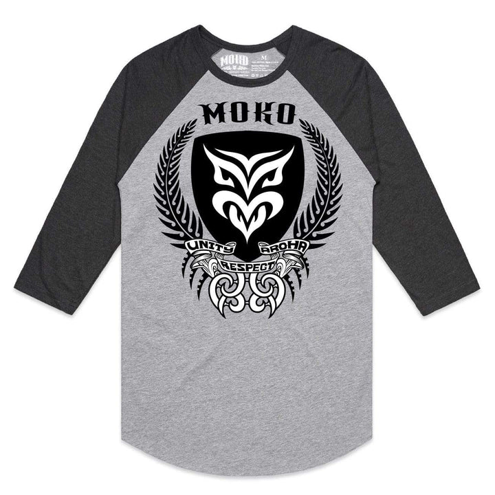 Brand: MOKO Tee Shirt SMALL / GRAY MARLE/CHARCOAL MOKO SHIELD 3/4 SLEEVE (SIZE SMALL ONLY)