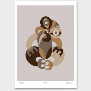 Kiwiana Art Prints Art Print Brown Tiki Limited Edition Print