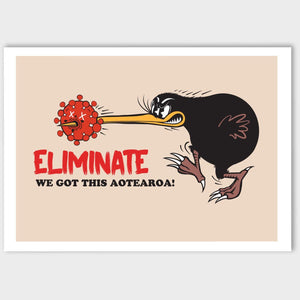 Kiwiana Art Prints Art Print Eliminate Covid!