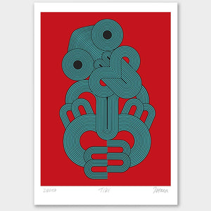 Kiwiana Art Prints Art Print Red Tiki Limited Edition Print