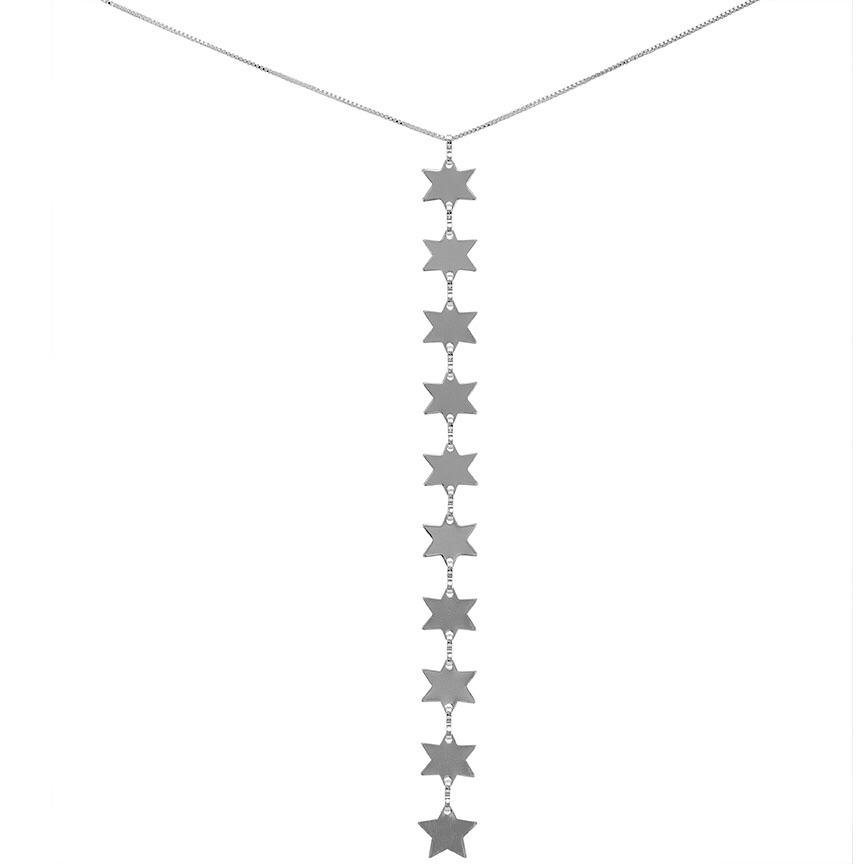 Rigel Star Lariat Necklace Silver