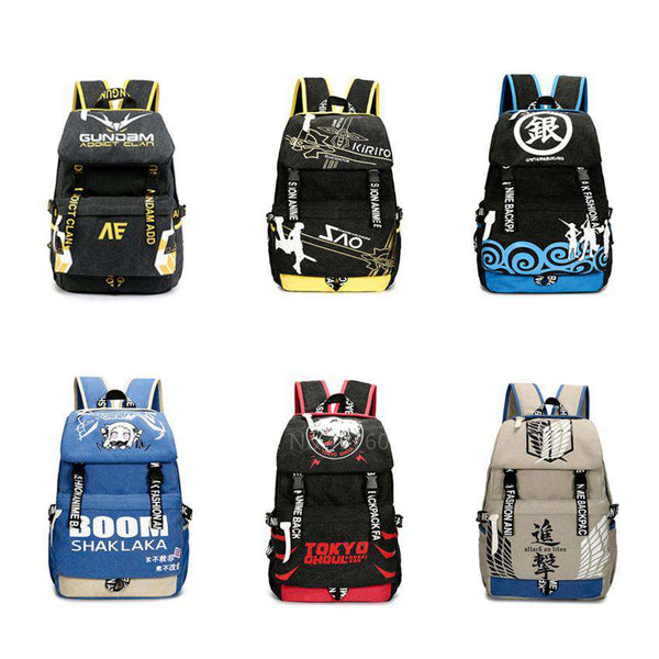 Anime Backpacks Gintama, Attack on Titan, Sword Art Online, and Gundam