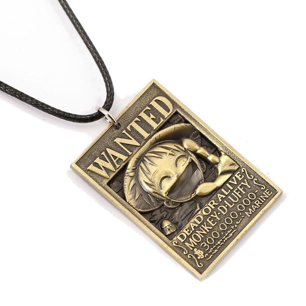ONE PIECE Luffy Wanted Poster Necklace