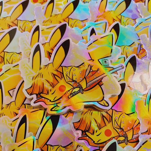*LIMITED EDITION* HOLOGRAPHIC Demon Slayer X Pokémon: Zenitsu Sticker