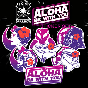 """May Aloha Be With You"" Sticker Pack (6pc)"