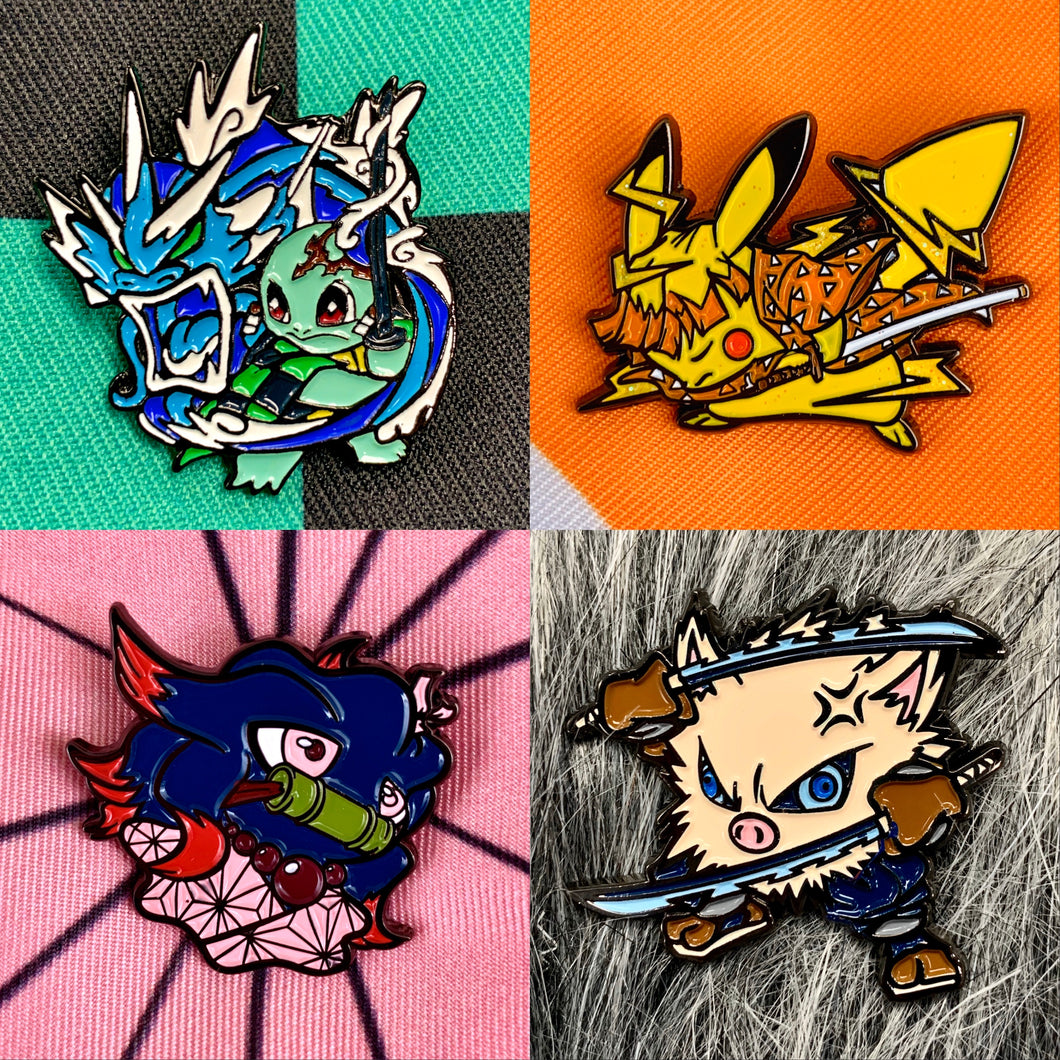 Demon Slayer X Pokémon Soft Enamel Pin 4pc Set