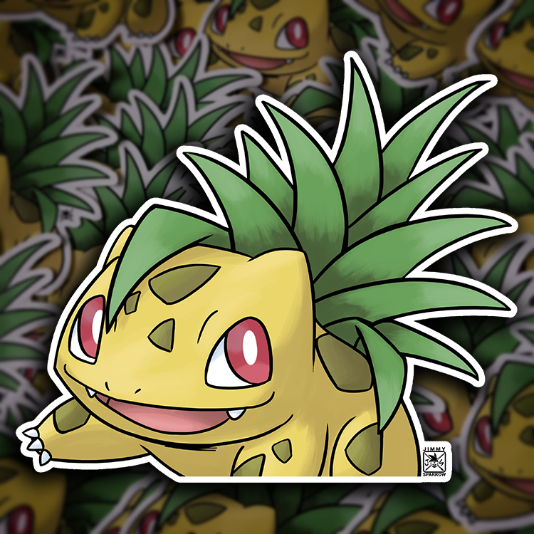 "6"" Pineapple Bulbasaur Peeker Sticker"