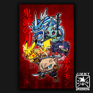 "Pokemon X Demon Slayer- 11"" X 17"" Poster"