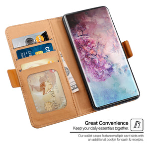Cover per Galaxy Note 10 plus titolare della carta Wallet con cavalletto nero