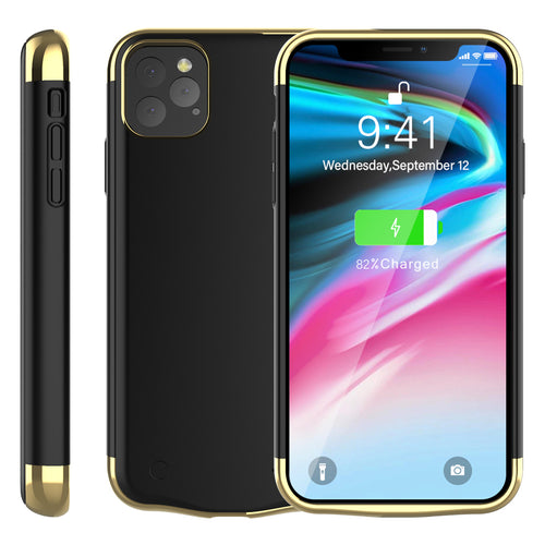 Cover Batteria per iPhone 11 Pro Max 6000mAh Ricaricabile Esteso Power Bank Case Nero