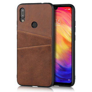 Custodia Redmi Note 7 Cover in TPU + PU con 2 Slot Carte Marron