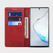 Load image into Gallery viewer, Custodia portafoglio Galaxy Note 10 Plus 5G con slot per carte e banconote cover pelle flip rossa