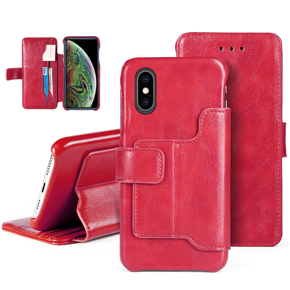 iPhone X / iPhone Xs Cover Pelle Supporto Stand Porta Carte Flip Wallet Case Rosso