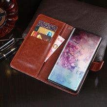 Load image into Gallery viewer, Cover per Samsung Note 10 plus 5G Flip Case Pelle Portafoglio Custodia Slot Schede Marron