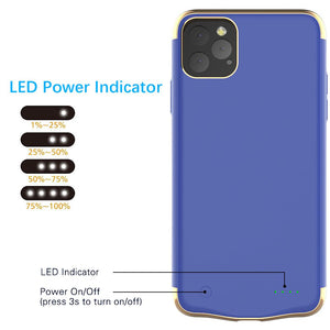 Cover Batteria iPhone 11 Pro Max 6000 mAh Ricaricabile Portatile Backup Caricabatterie Power Case Blu