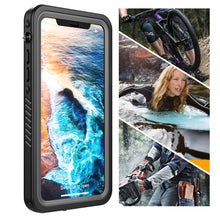 Load image into Gallery viewer, Cover subacquea iPhone X/ XS impermeabile IP68 con cinturino galleggiante nero