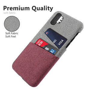 Cover Samsung Galaxy Note 10 Plus 5G con fessure per carta Custodia tessuto rossa