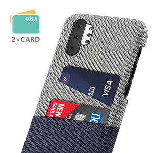 Cover Samsung Galaxy Note 10 Plus 5G con porta carte di credito Custodia tessuto blu