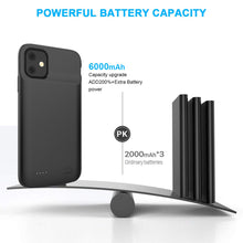 Load image into Gallery viewer, Custodia Batteria iPhone 11 5000mAh Esterno Portatile Ricaricabile Power Bank Extra Pack Nero