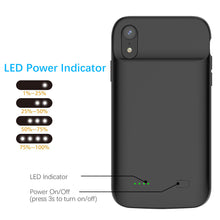 Load image into Gallery viewer, Custodia Batterie per iPhone XR Ricaricabile Portatile Extended Pack 5000mah nero