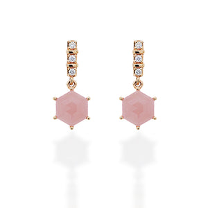 Esagono Rose Quartz Earrings