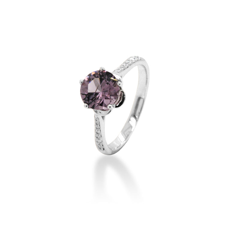 Pink Spinel Diamond Ring