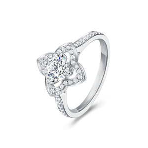 Flower Halo Pave Band