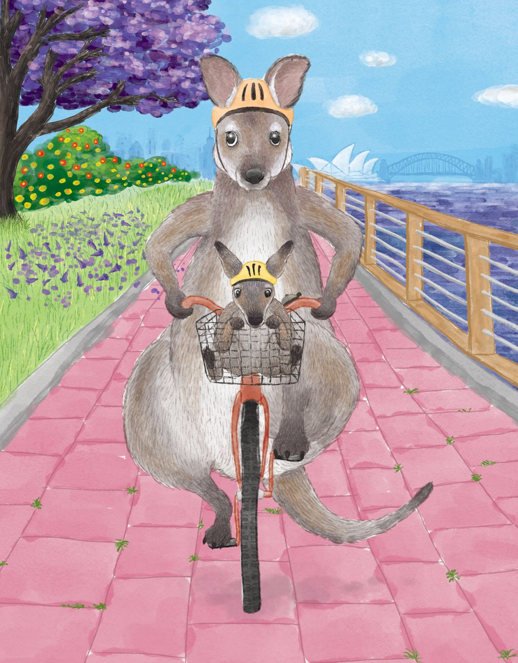 Squirrel Design Studio-Cycling Wallabies - Greeting Card-Mott and Mulberry