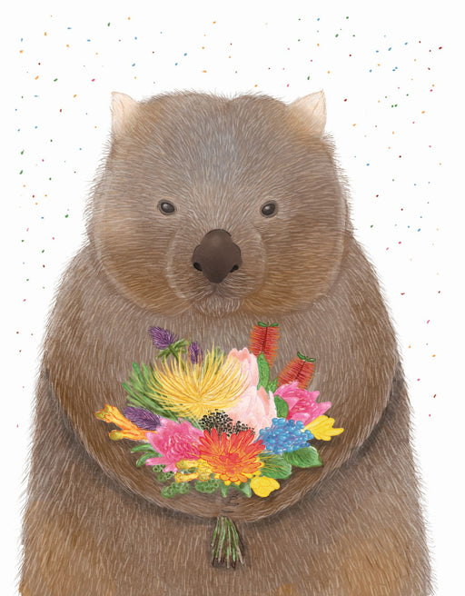 Squirrel Design Studio-Wombat Bouquet Card-mott-and-mulberry-shop-online-brisbane