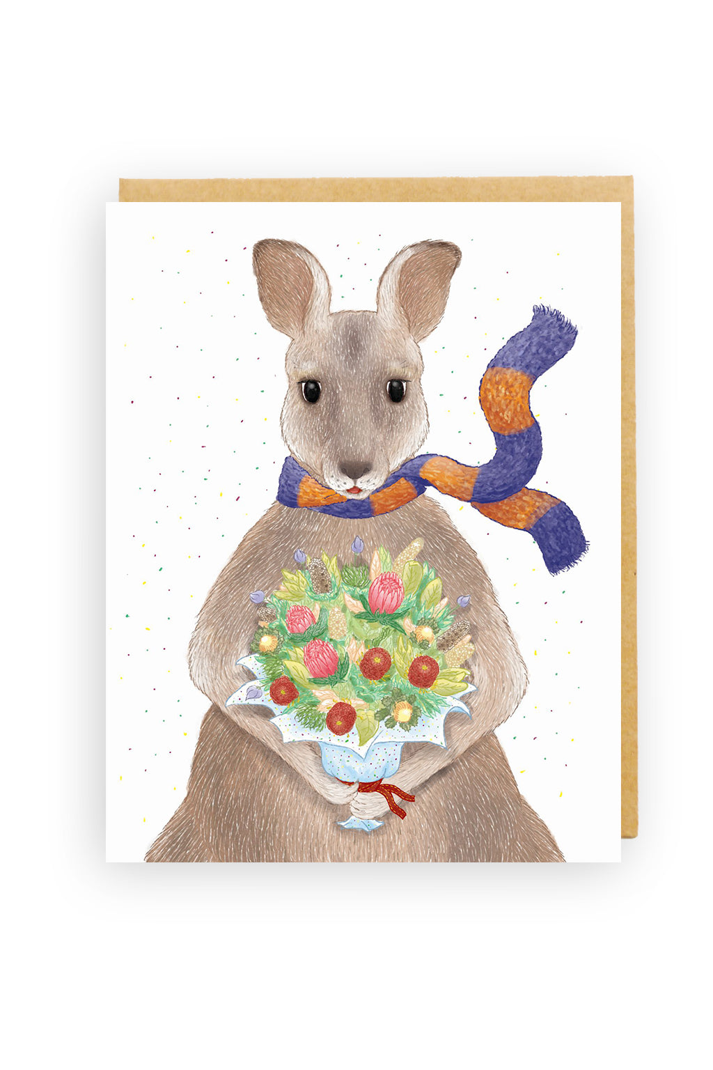 Squirrel Design Studio-Kangaroo Bouquet - Greeting Card-Mott and Mulberry