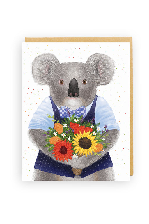 Squirrel Design Studio-Koala Bouquet Card-mott-and-mulberry-shop-online-brisbane