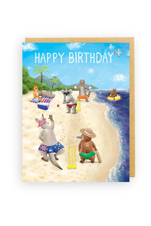 Squirrel Design Studio-Happy Birthday Card -Beach Cricket-mott-and-mulberry-shop-online-brisbane
