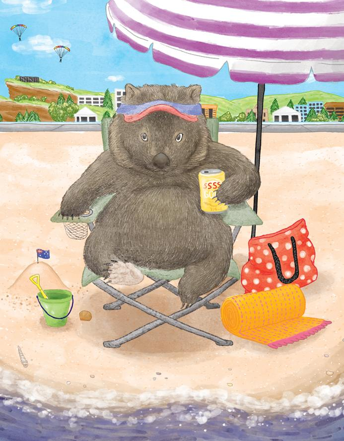 Squirrel Design Studio-Beach Chair Wombat - Card-Mott and Mulberry