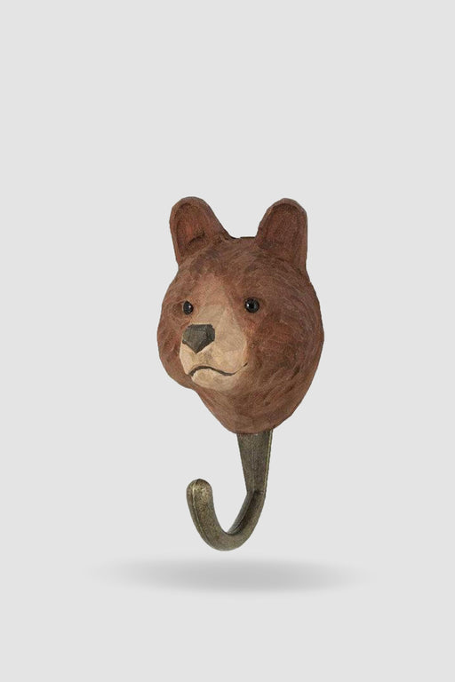Hall and Wares-Hand Carved Brown Bear   Hook-Mott and Mulberry