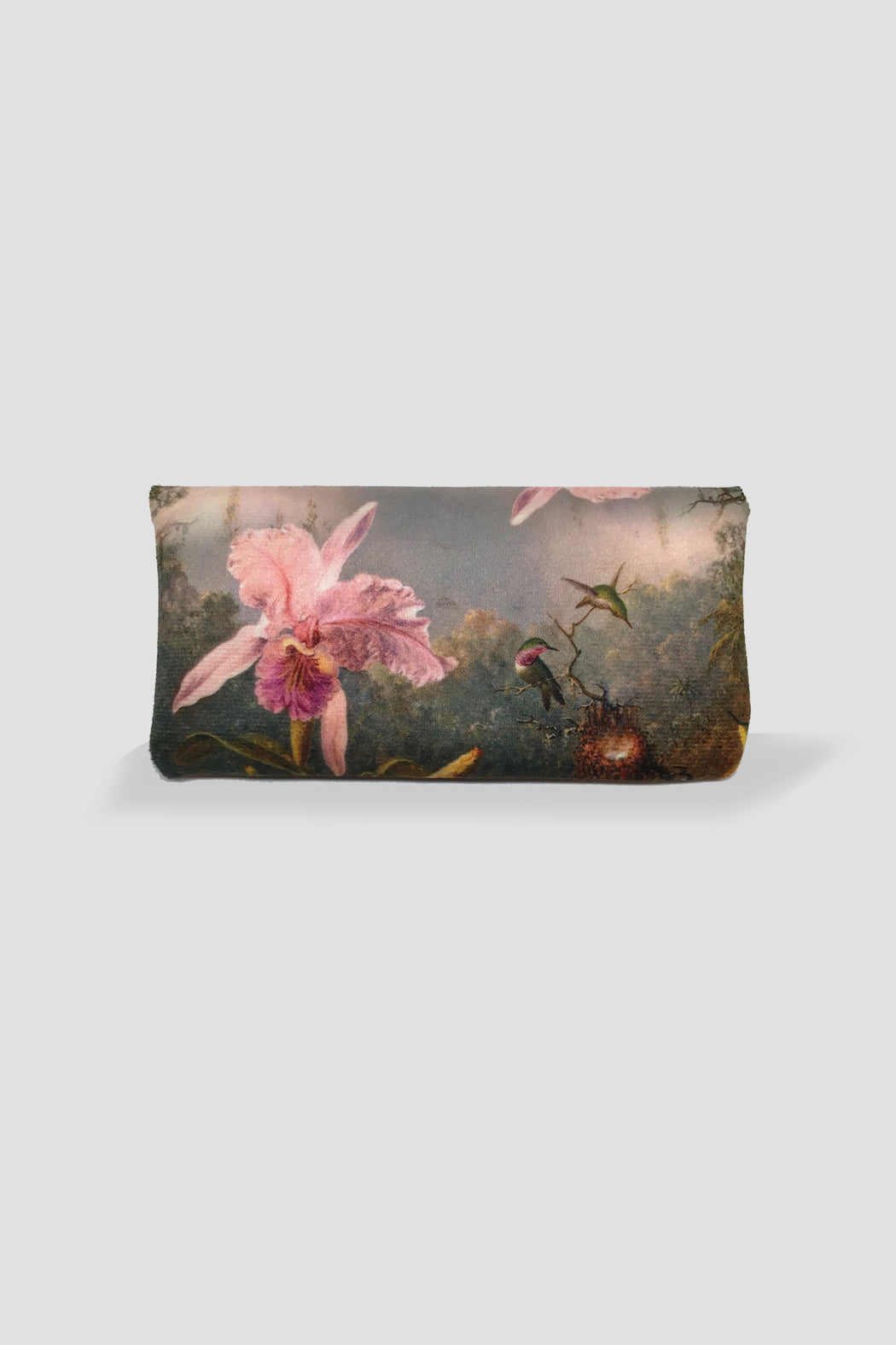 Kelnet-KELNET FRENCH VELOUR GLASSES CASE - CATTLEYA ORCHID AND THREE BRAZILIAN HUMMINGBIRD-Mott and Mulberry