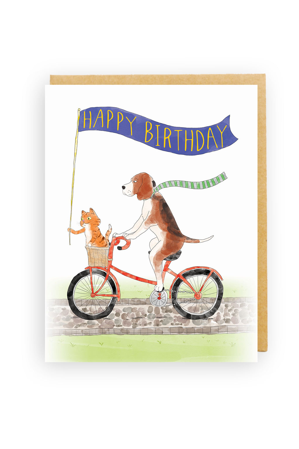 Squirrel Design Studio-Cycling Dog with Kitten - Birthday Card-Mott and Mulberry