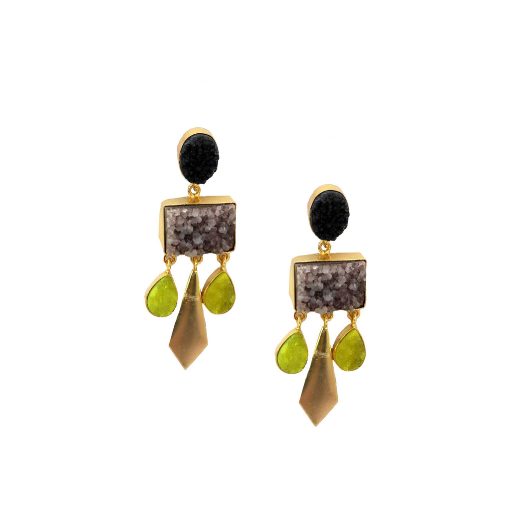 ZODA-Multi Gem Chandelier Earrings Lime/ Black-Mott and Mulberry