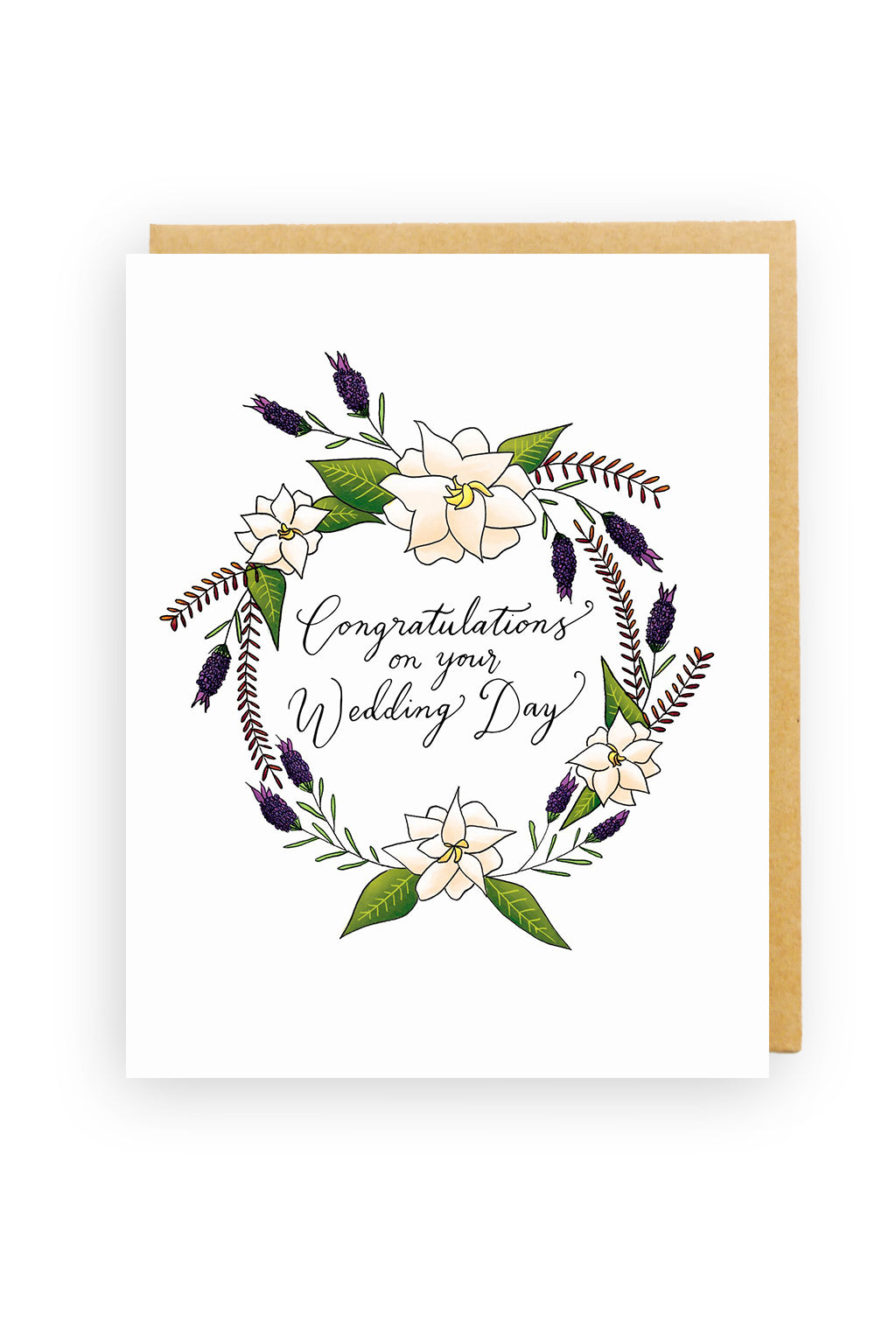 Squirrel Design Studio-White Gardenia Wreath - Wedding Card-Mott and Mulberry