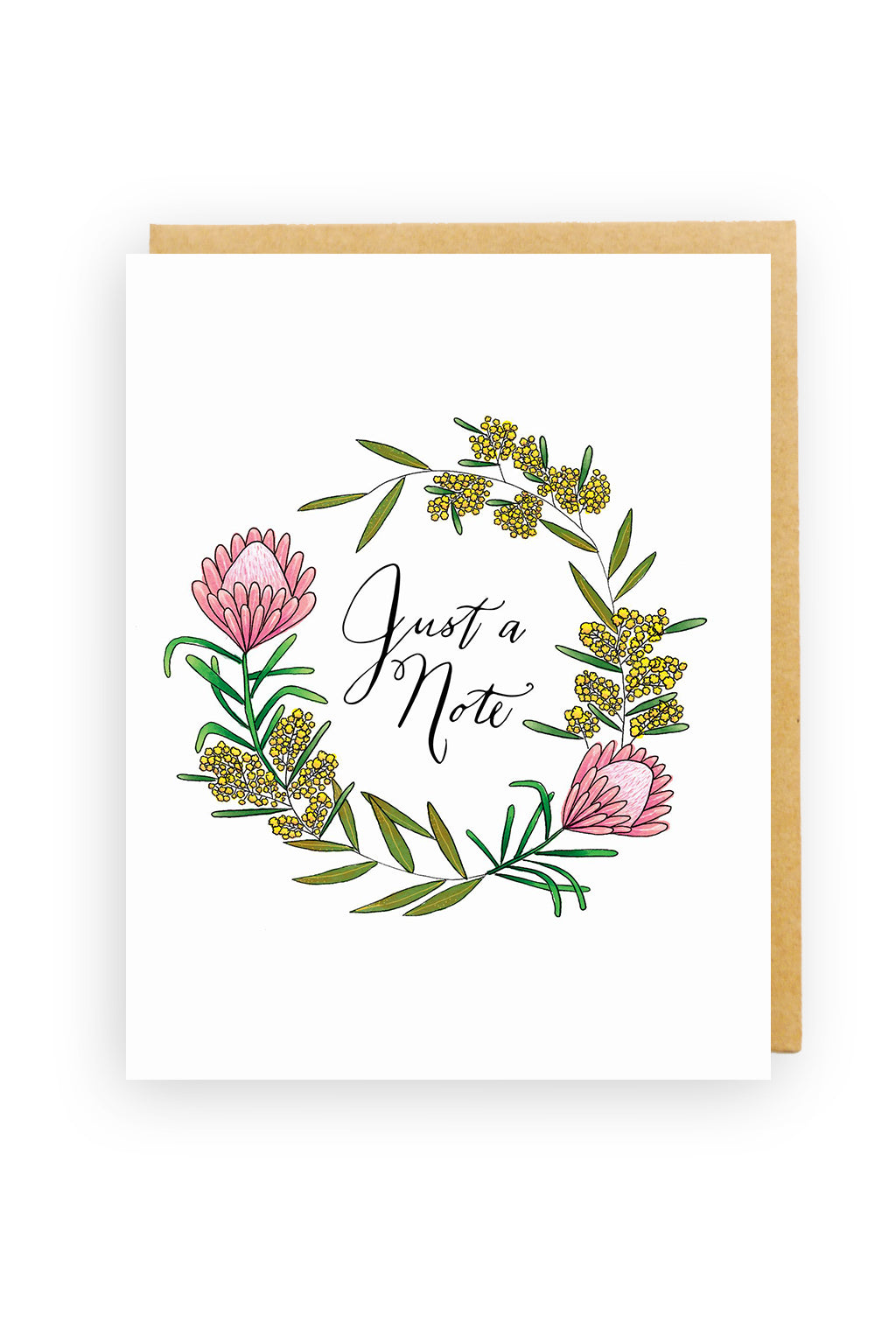 Squirrel Design Studio-Just a Note Thank you Card - Golden Wattle-mott-and-mulberry-shop-online-brisbane