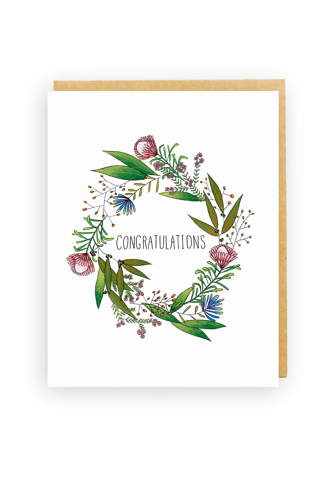 Squirrel Design Studio-Wax Flower Wreath - Congratulations Card-Mott and Mulberry