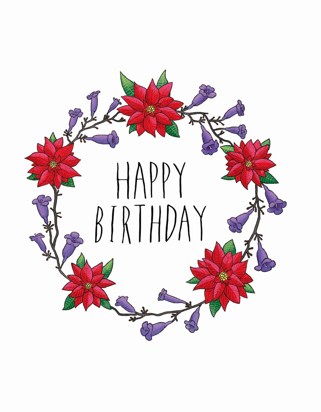 Squirrel Design Studio-Jacaranda & Poinsettia Wreath - Birthday Card-Mott and Mulberry